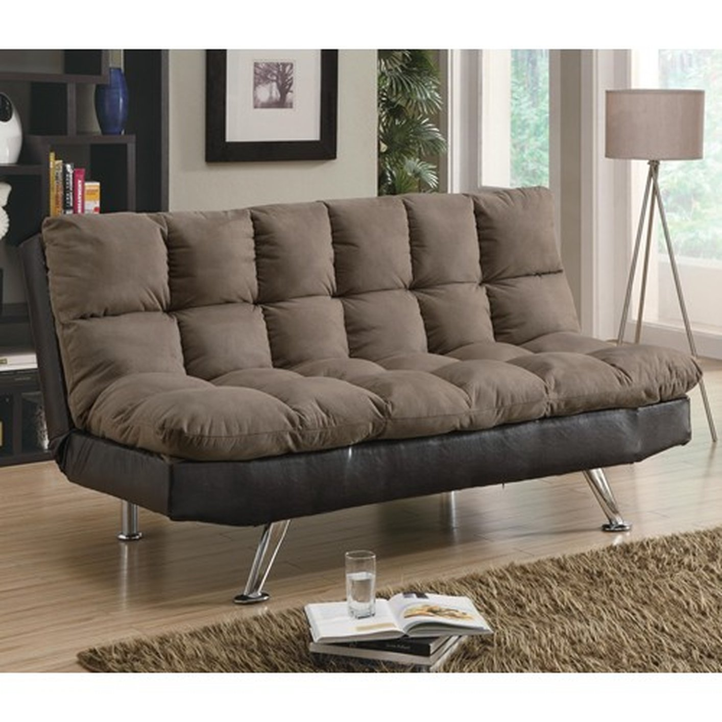Coaster 300306 brown fabric sofa bed steal a sofa for Brown fabric couch