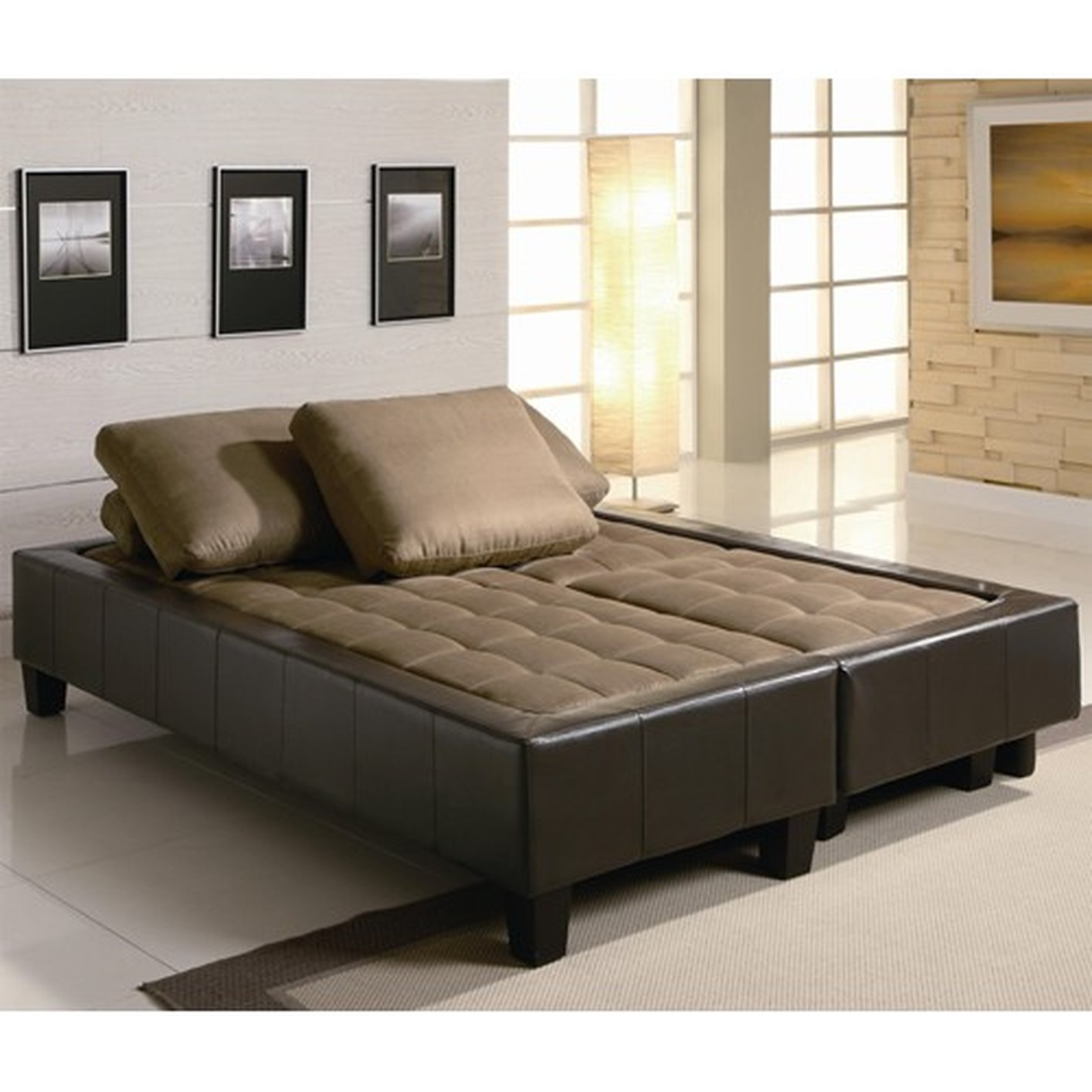 ... Brown Fabric Sofa Bed And Ottoman Set ...