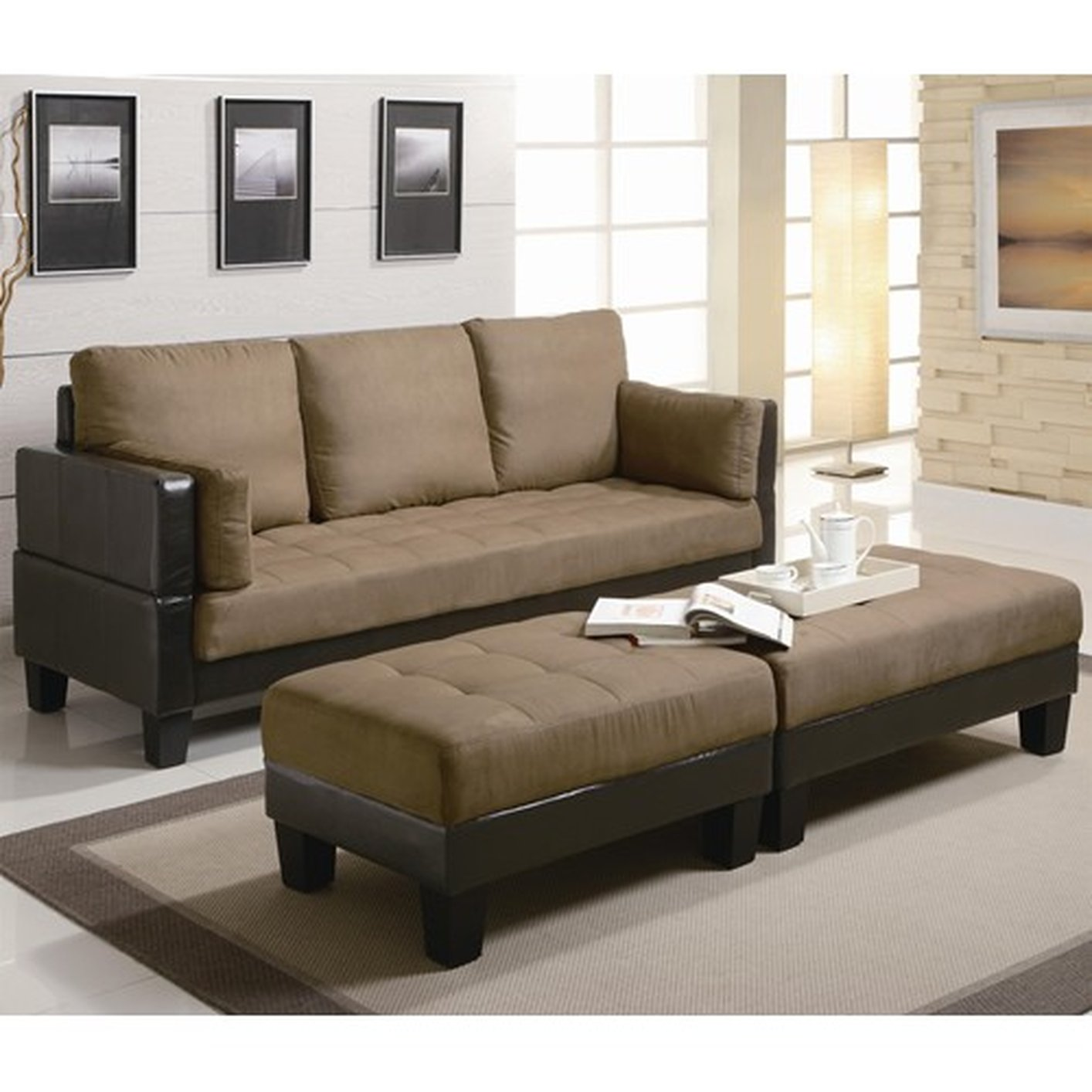 Brown Fabric Sofa Bed And Ottoman Set