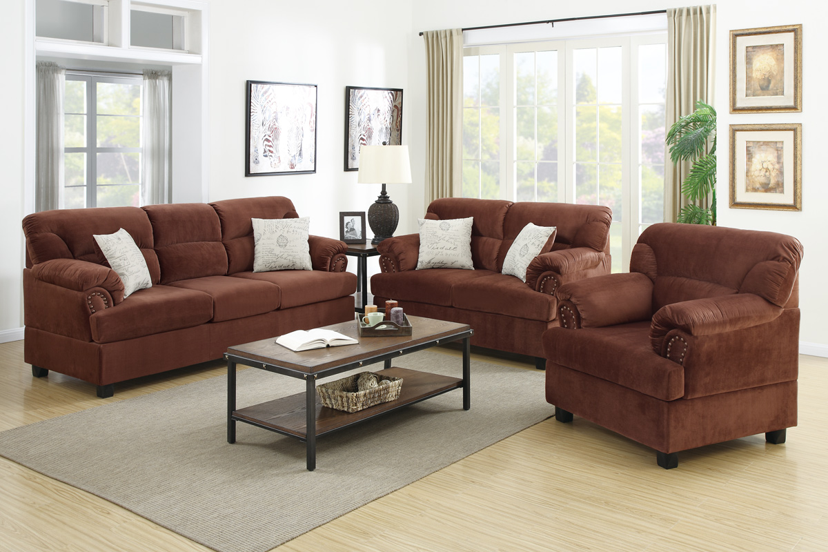 Brown wood sofa loveseat and chair set steal a sofa for Furniture 90036