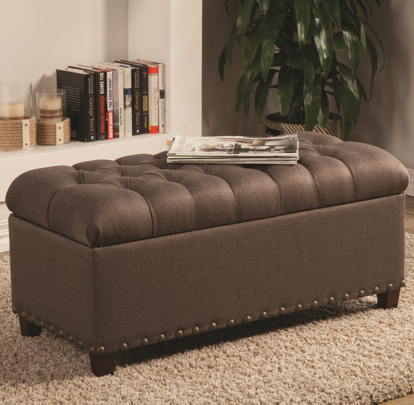 Brown Fabric Storage Bench Sofa Bench With Storage C59