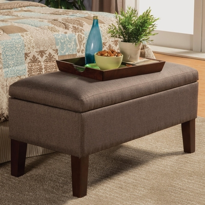 Brown Fabric Storage Bench