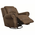 Brown Fabric Swivel Recliner