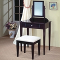 Brown Fabric Vanity Set with Stool