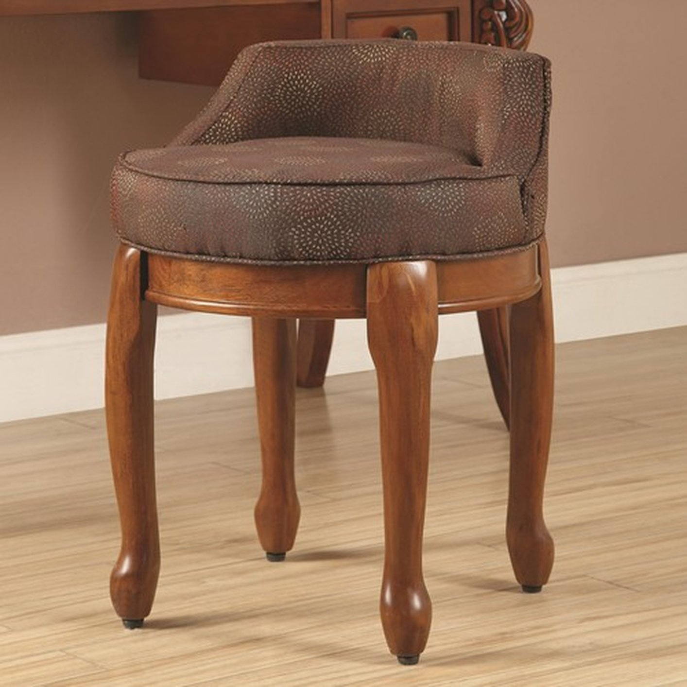 Brown Fabric Vanity Stool Steal A Sofa Furniture Outlet Los
