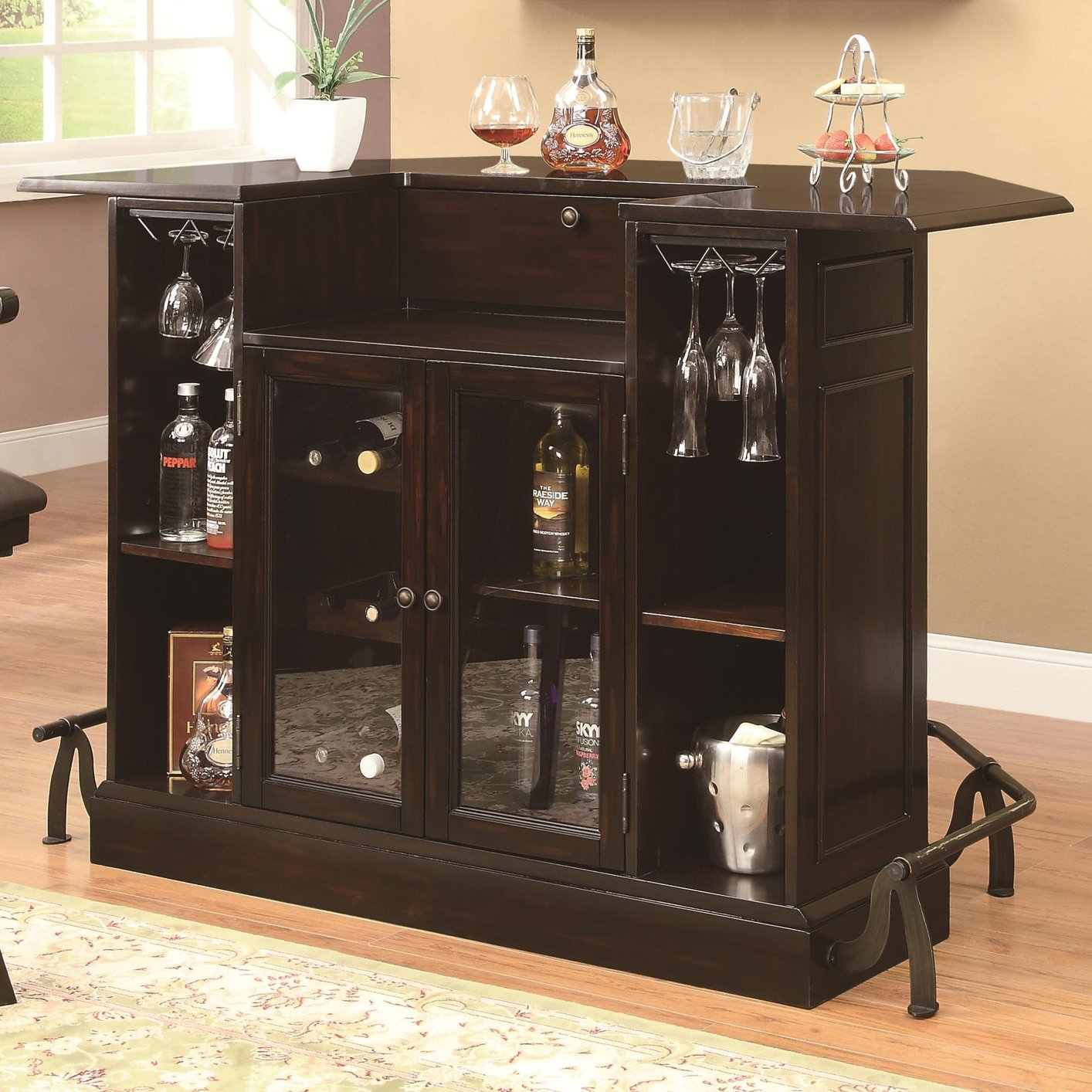 Brown Glass Bar Unit - Steal-A-Sofa Furniture Outlet Los Angeles CA