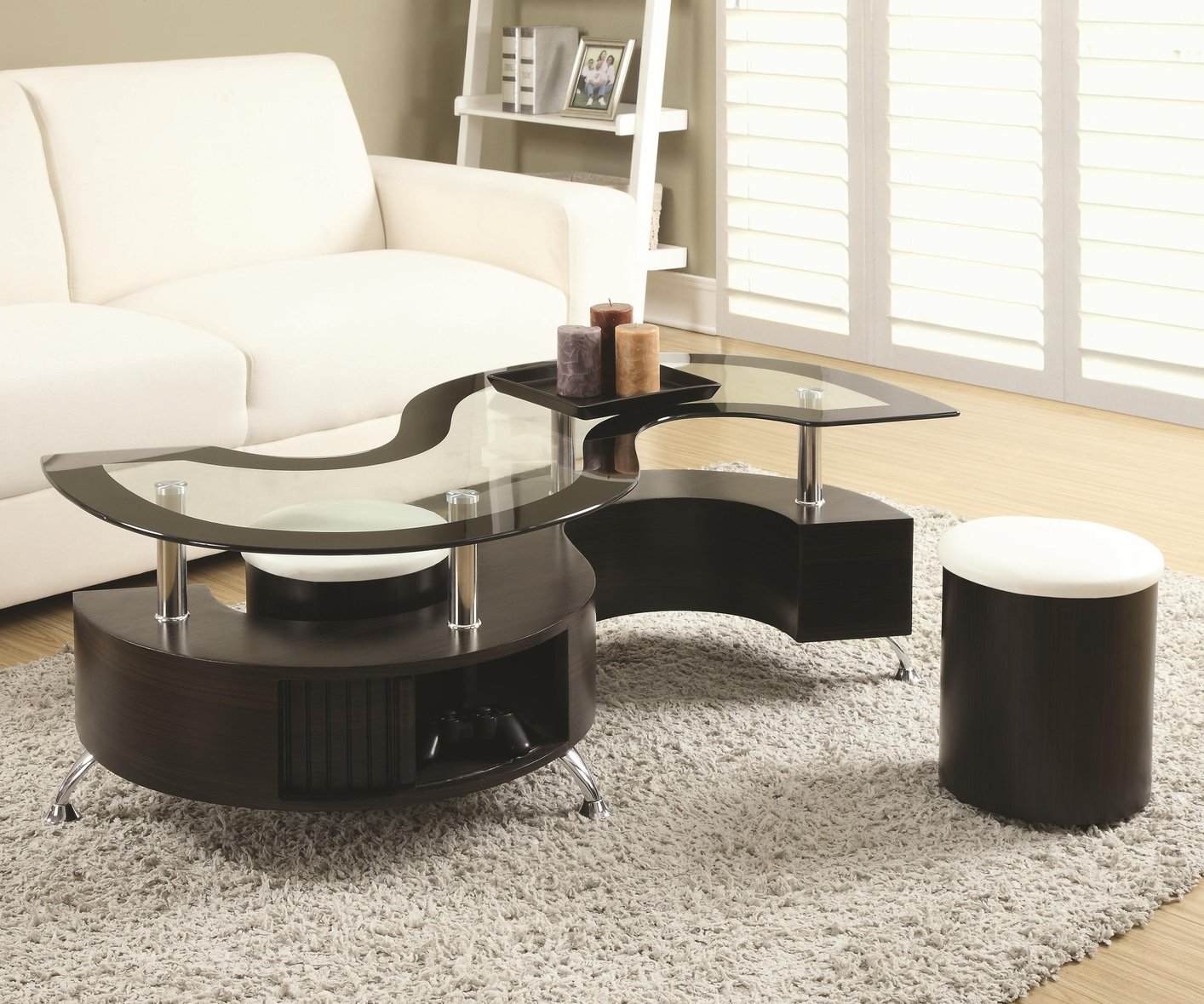 Brown Glass Coffee Table