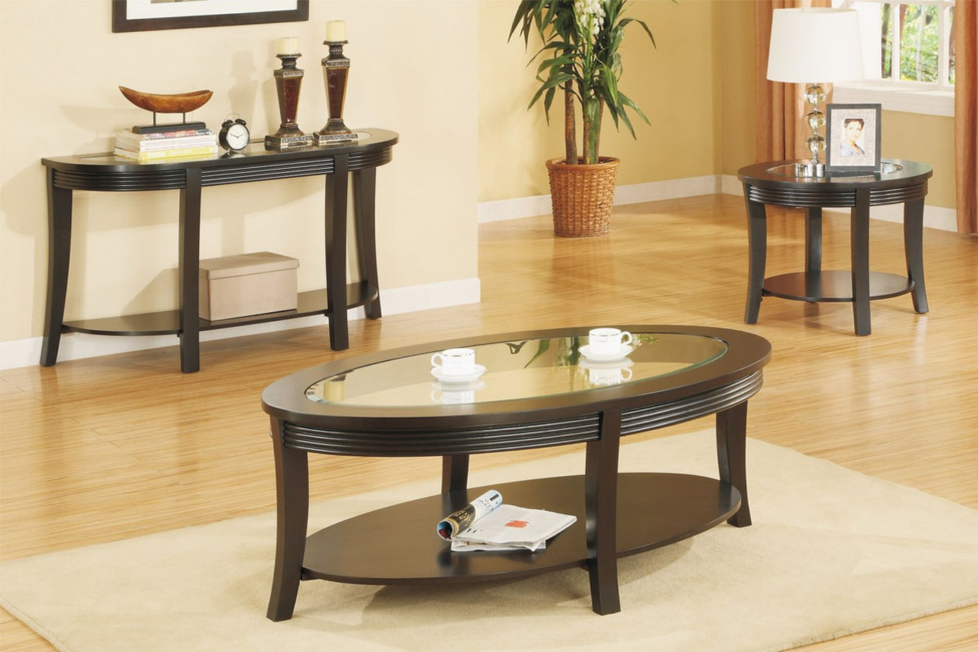Poundex F6102 Brown Glass Coffee Table Steal A Sofa Furniture Outlet Los Angeles Ca