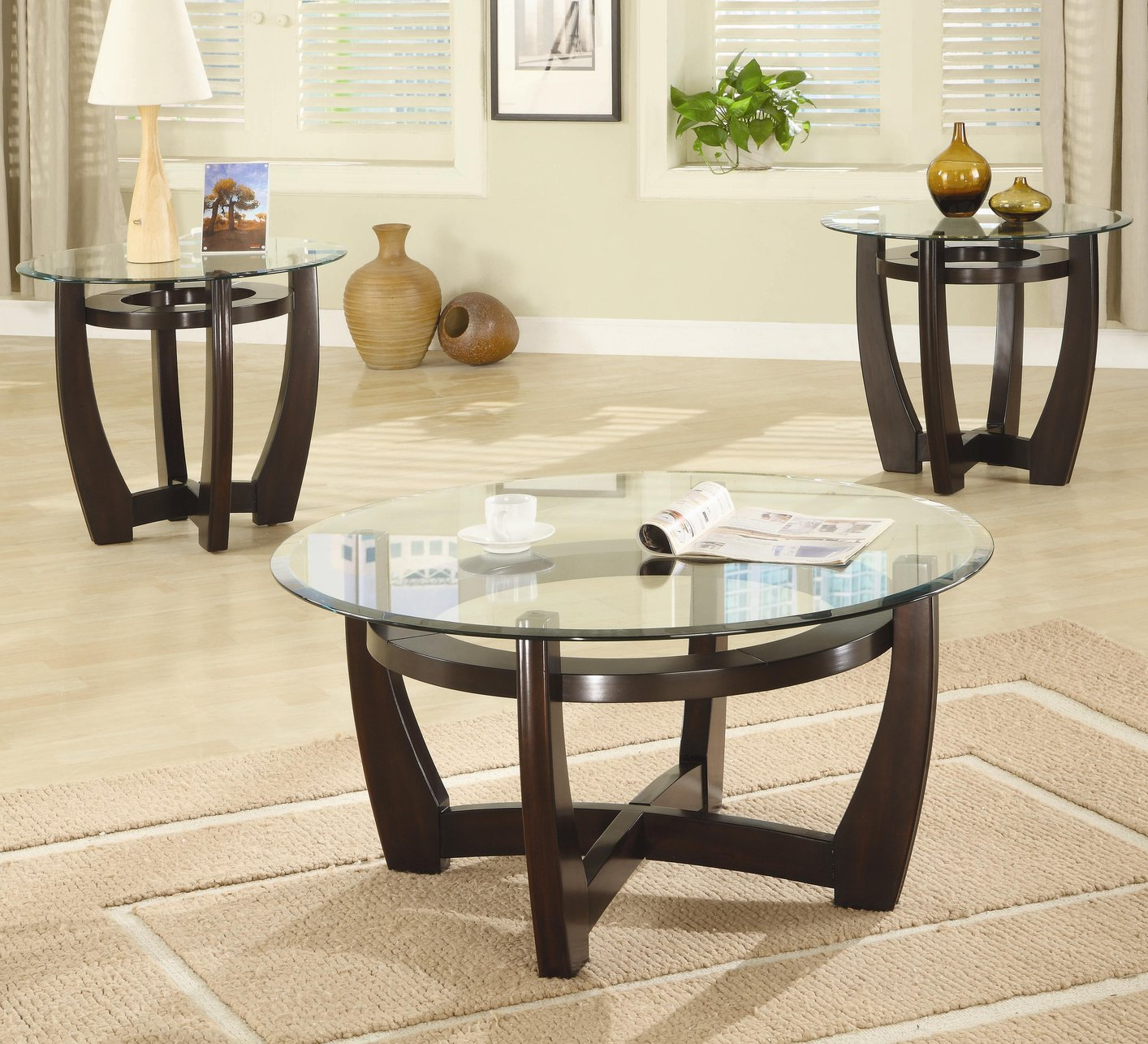 Beautiful Brown Glass Coffee Table Set