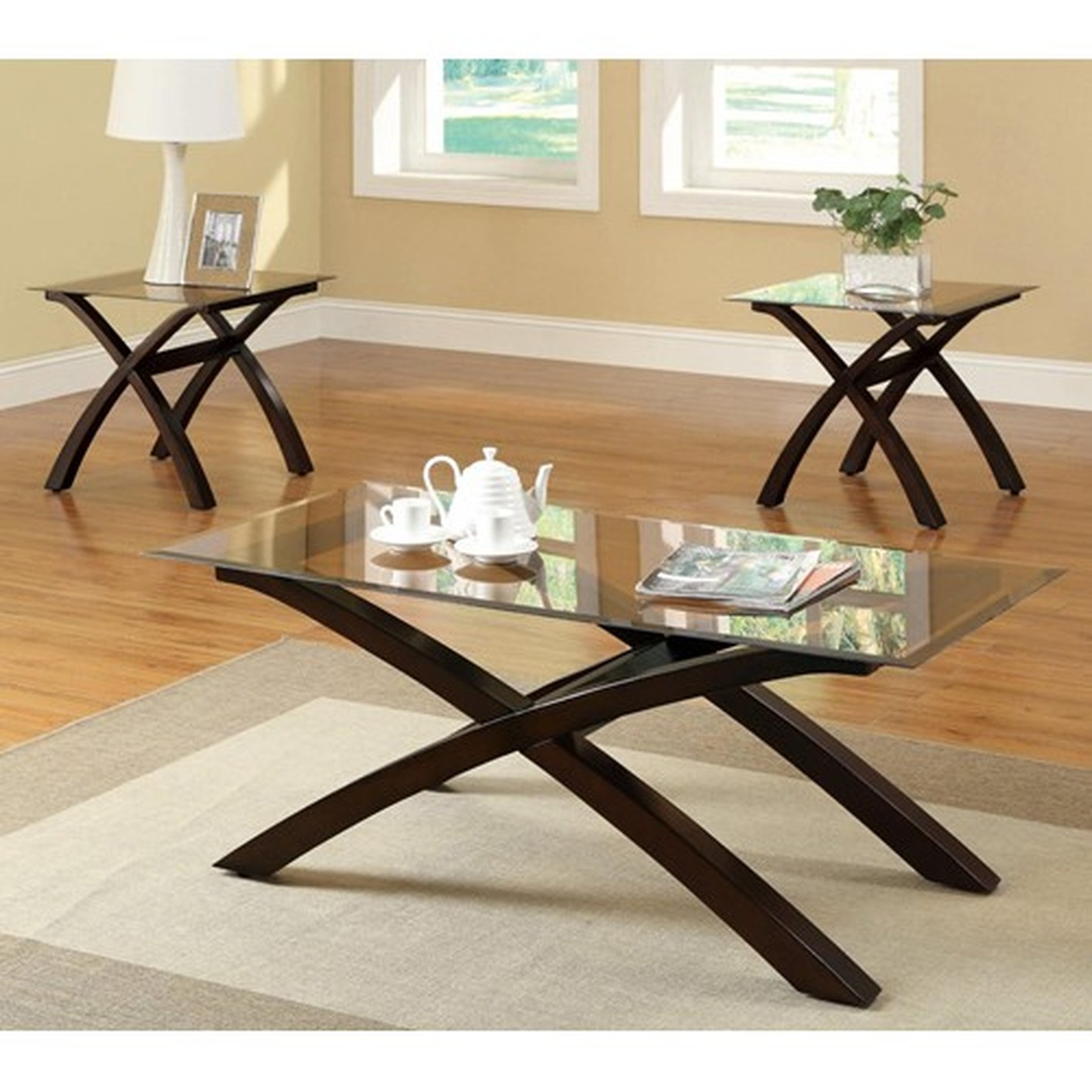 Brown Glass Coffee Table Set - Coaster 701610 Brown Glass Coffee Table Set - Steal-A-Sofa