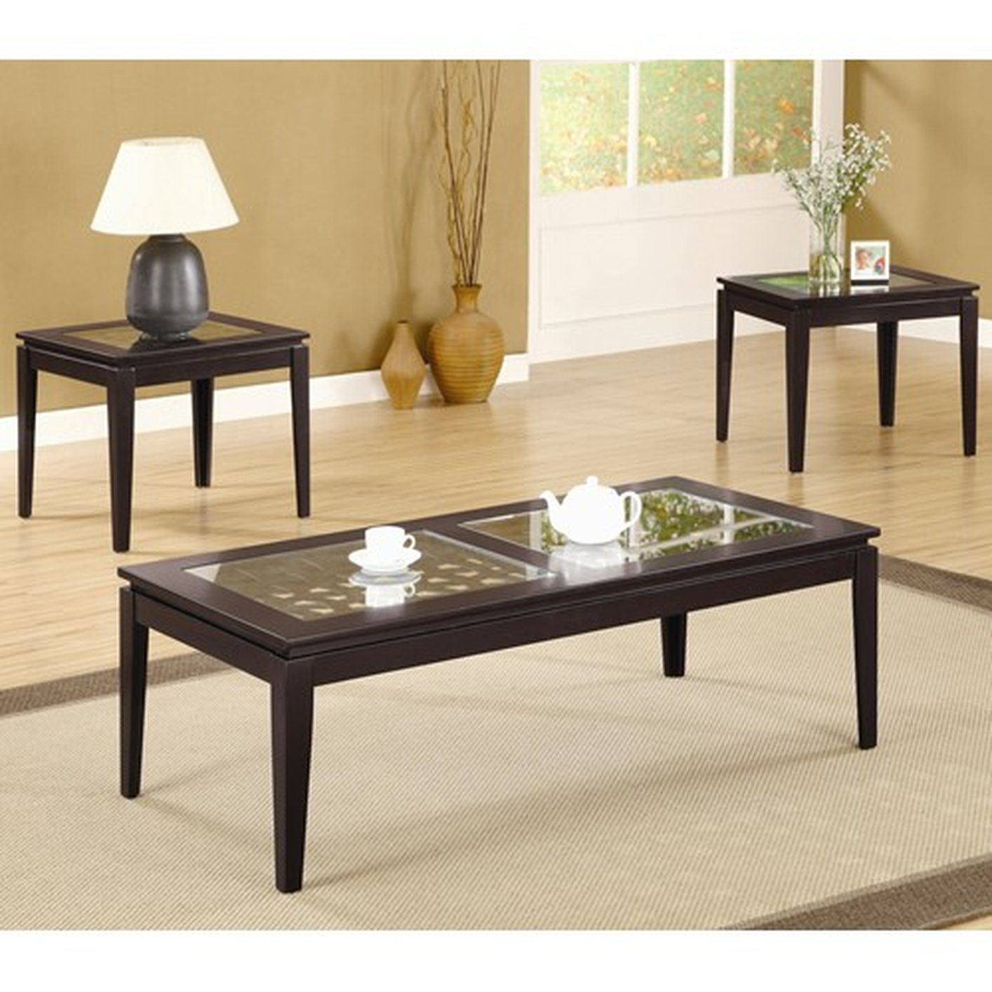 Coaster 700205 Brown Glass Coffee Table Set Steal A Sofa