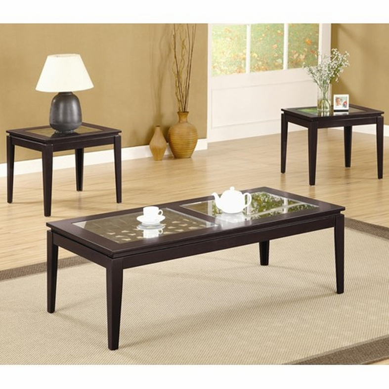Coaster 700205 brown glass coffee table set steal a sofa for Glass coffee table sets