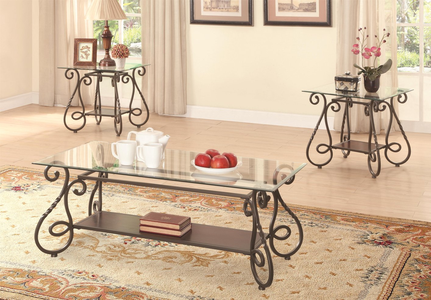 Brown Metal Coffee Table Set