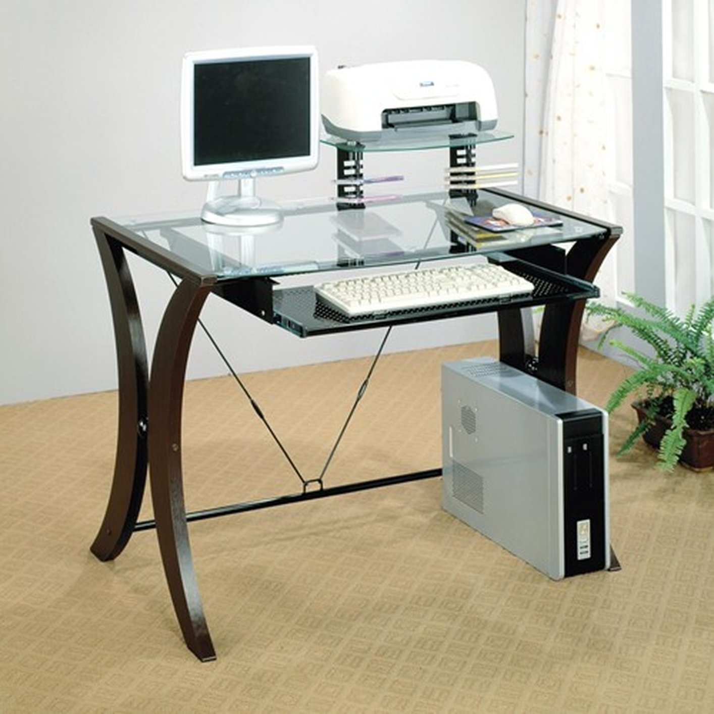 Brown Glass Computer Desk