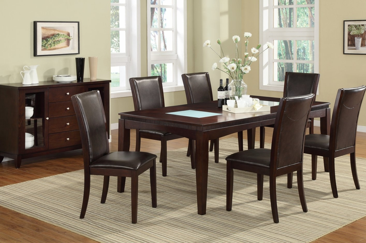 Brown glass dining table steal a sofa furniture outlet for Furniture 90036