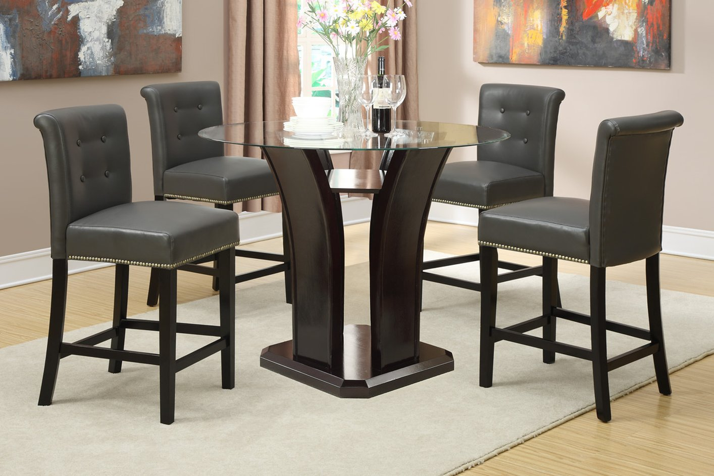 glass kitchen table sets.  Brown Glass Dining Table Steal A Sofa Furniture Outlet Los