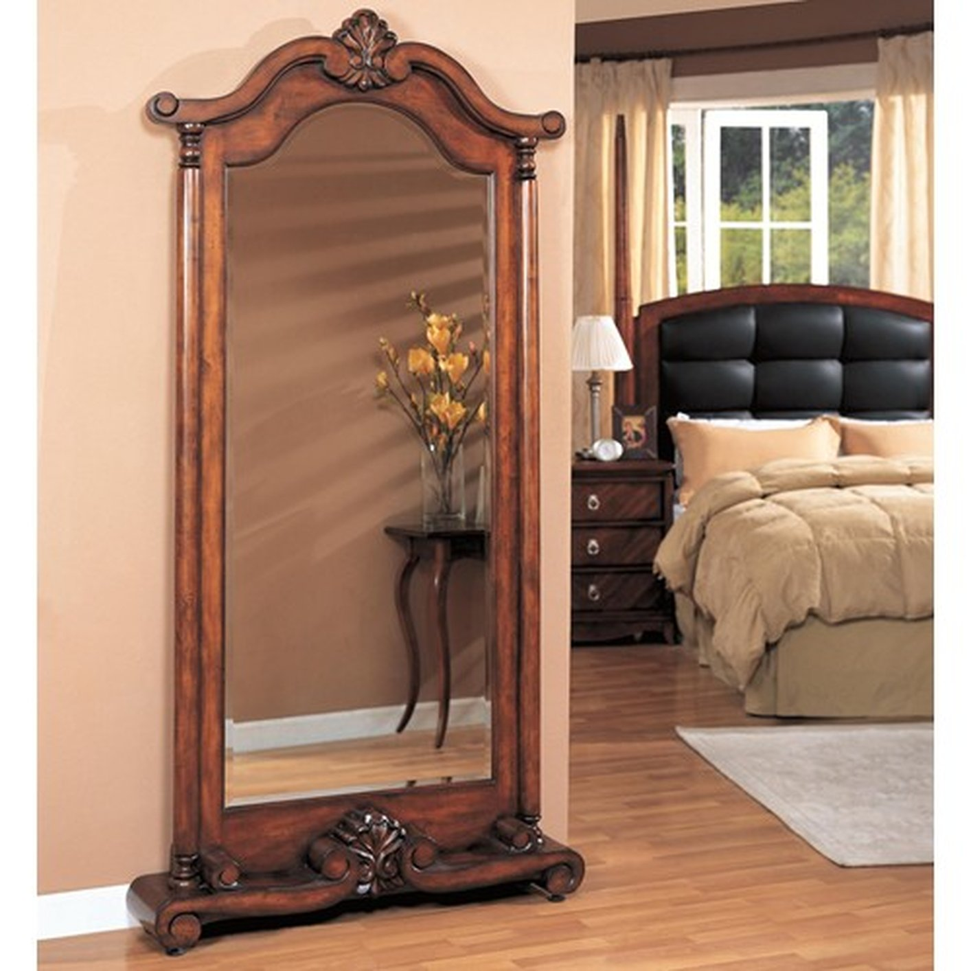 Brown Glass Floor Mirror Steal A Sofa Furniture Outlet