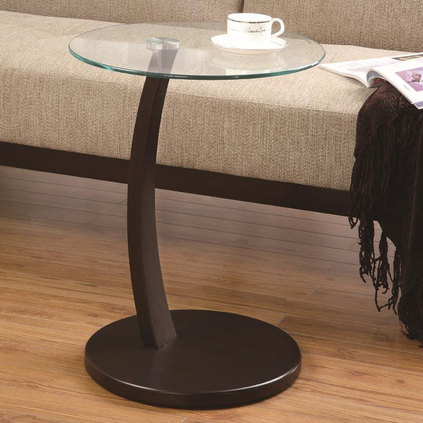 Coaster 900256 Brown Glass Snack Table Steal A Sofa