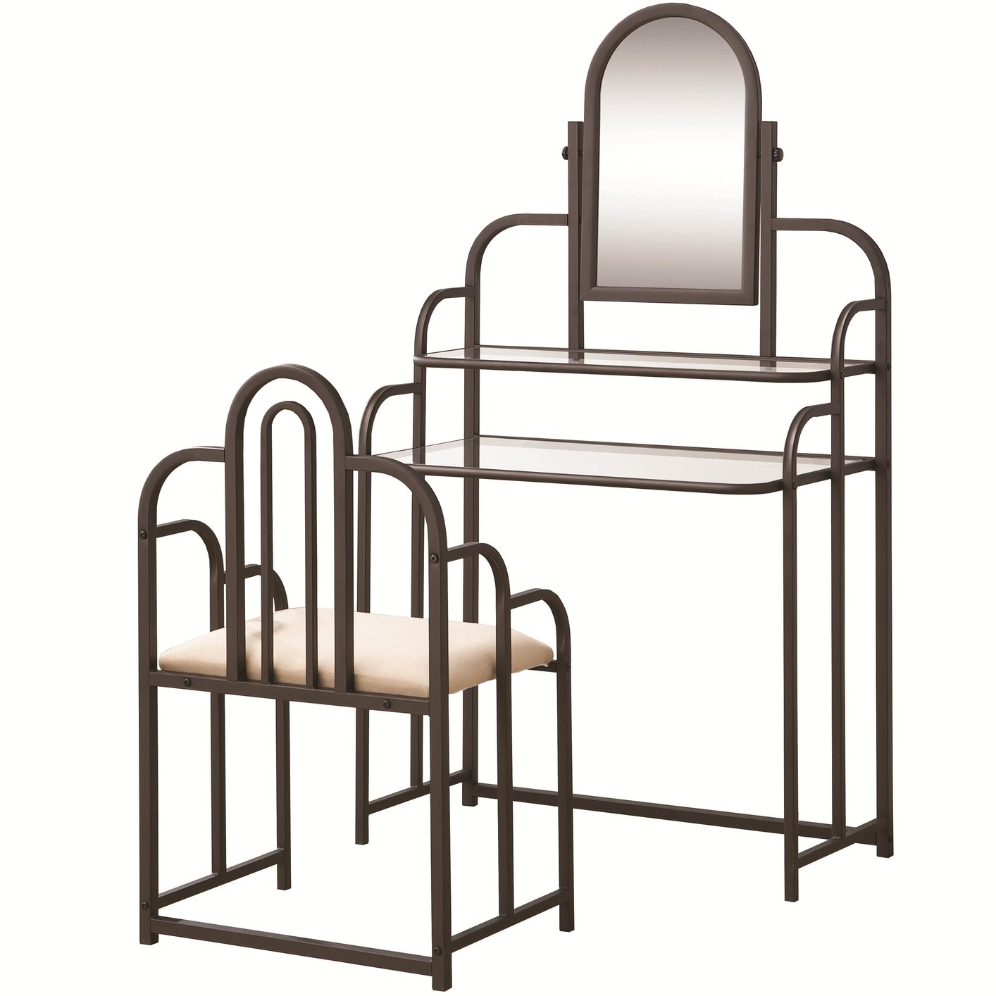 Brown Metal Vanity Set with Stool - Steal-A-Sofa Furniture Outlet ...