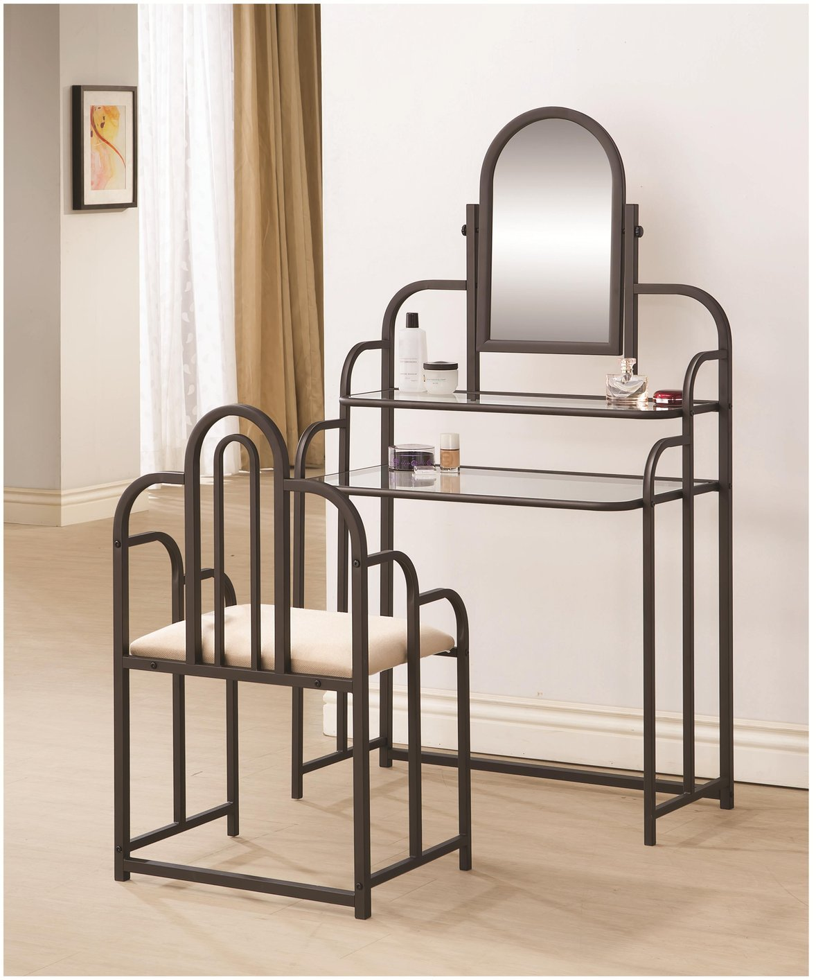 Brown Glass Vanity Set With Stool Brown Glass Vanity Set With Stool