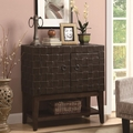 Brown Leather Accent Cabinet
