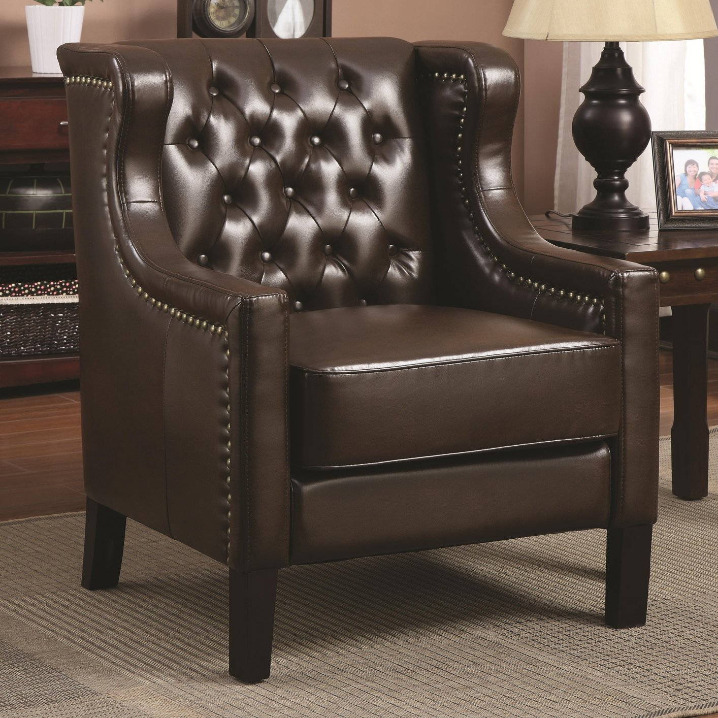 Tan Leather Accent Chair: Steal-A-Sofa Furniture Outlet