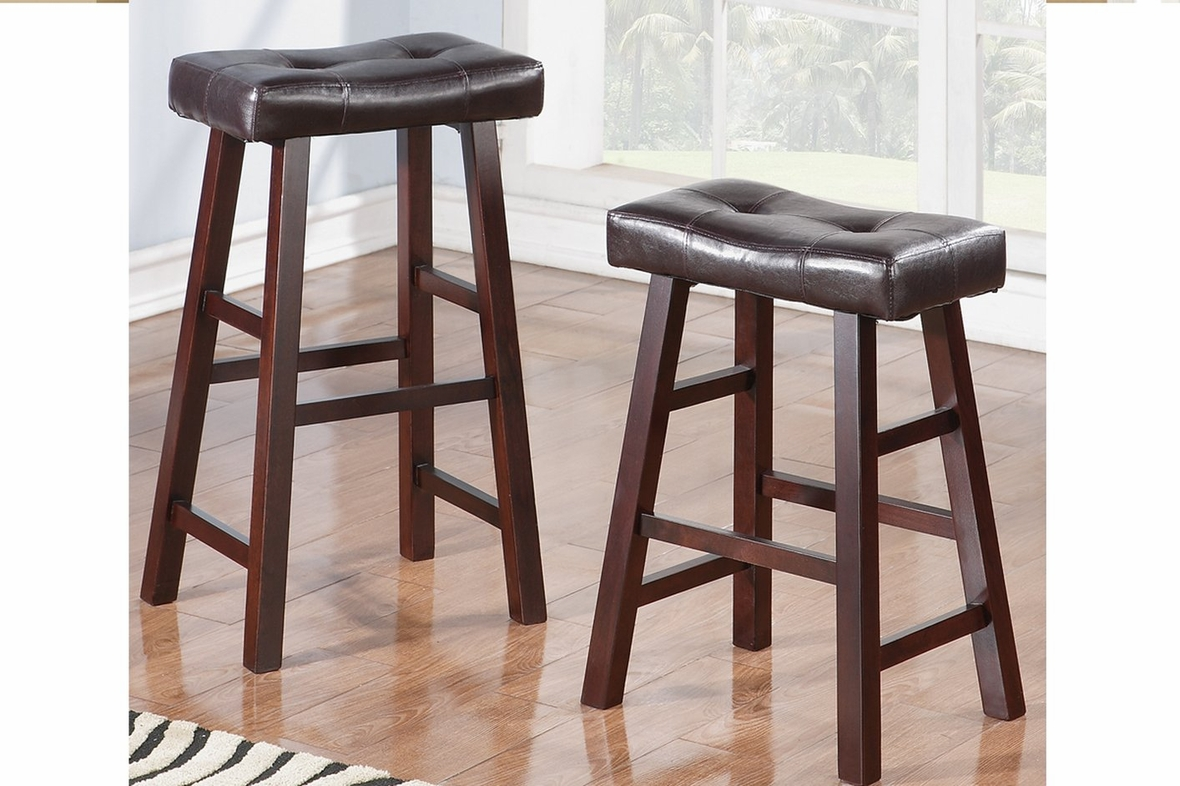 Poundex F1240 Brown Leather Bar Stool Steal A Sofa Furniture Outlet Los Angeles Ca