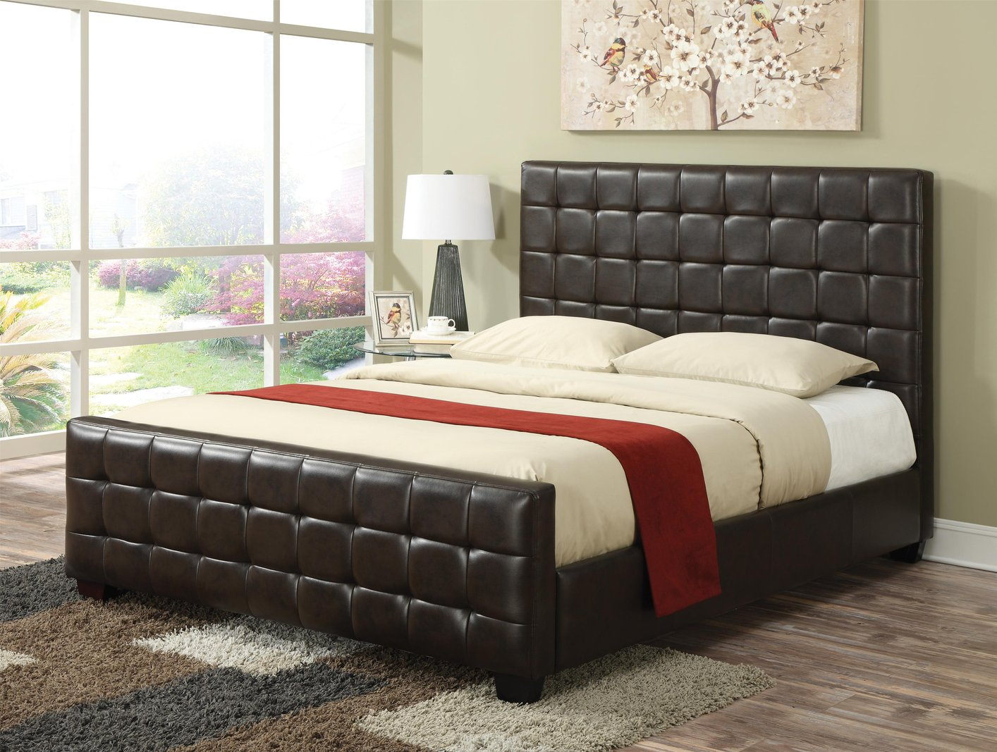 coaster 300042kw brown california king size leather bed steal a sofa furniture outlet los. Black Bedroom Furniture Sets. Home Design Ideas