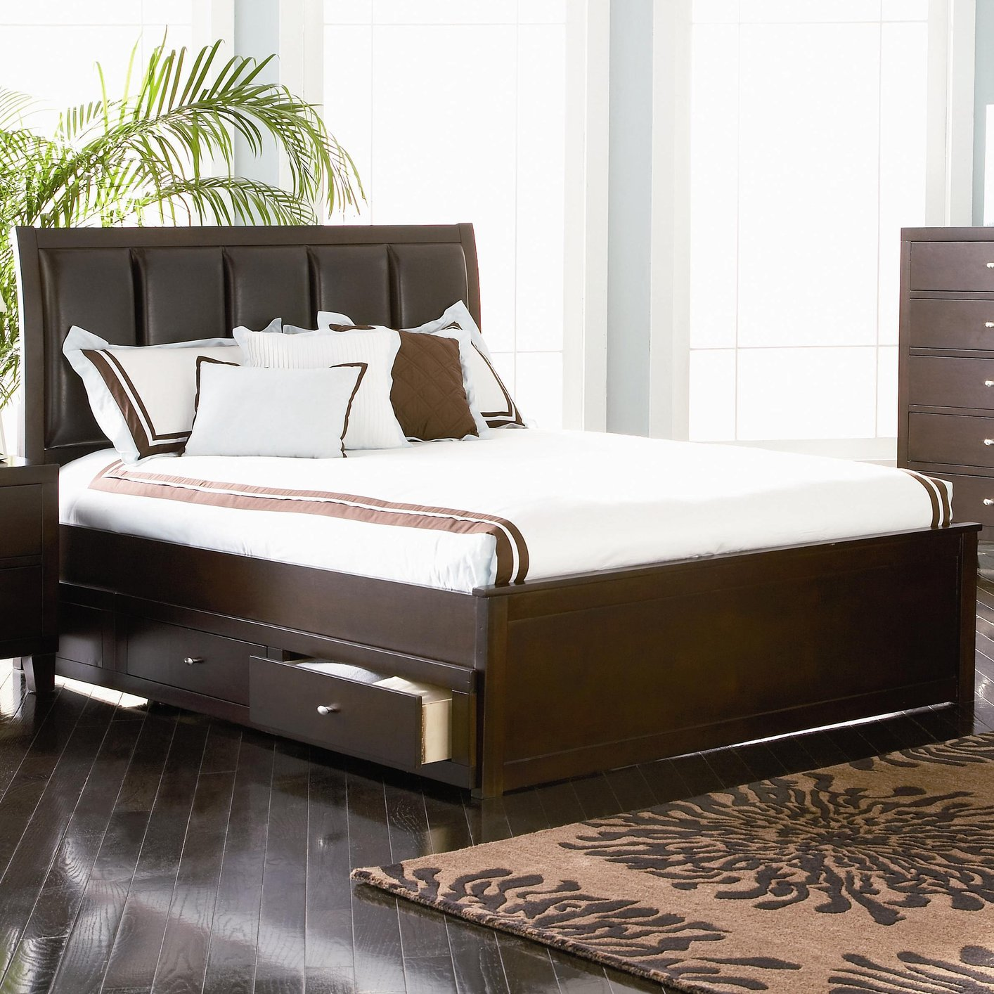 Coaster 201511KW Brown California King Size Leather BedStealA