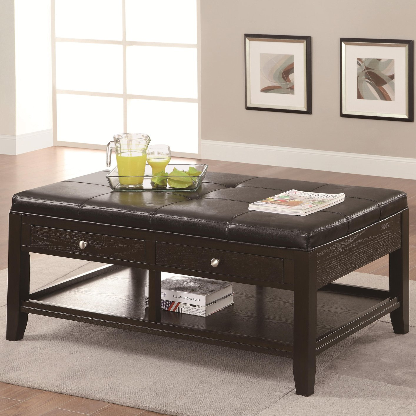 Brown Leather Coffee Table - Coaster 702498 Brown Leather Coffee Table - Steal-A-Sofa Furniture