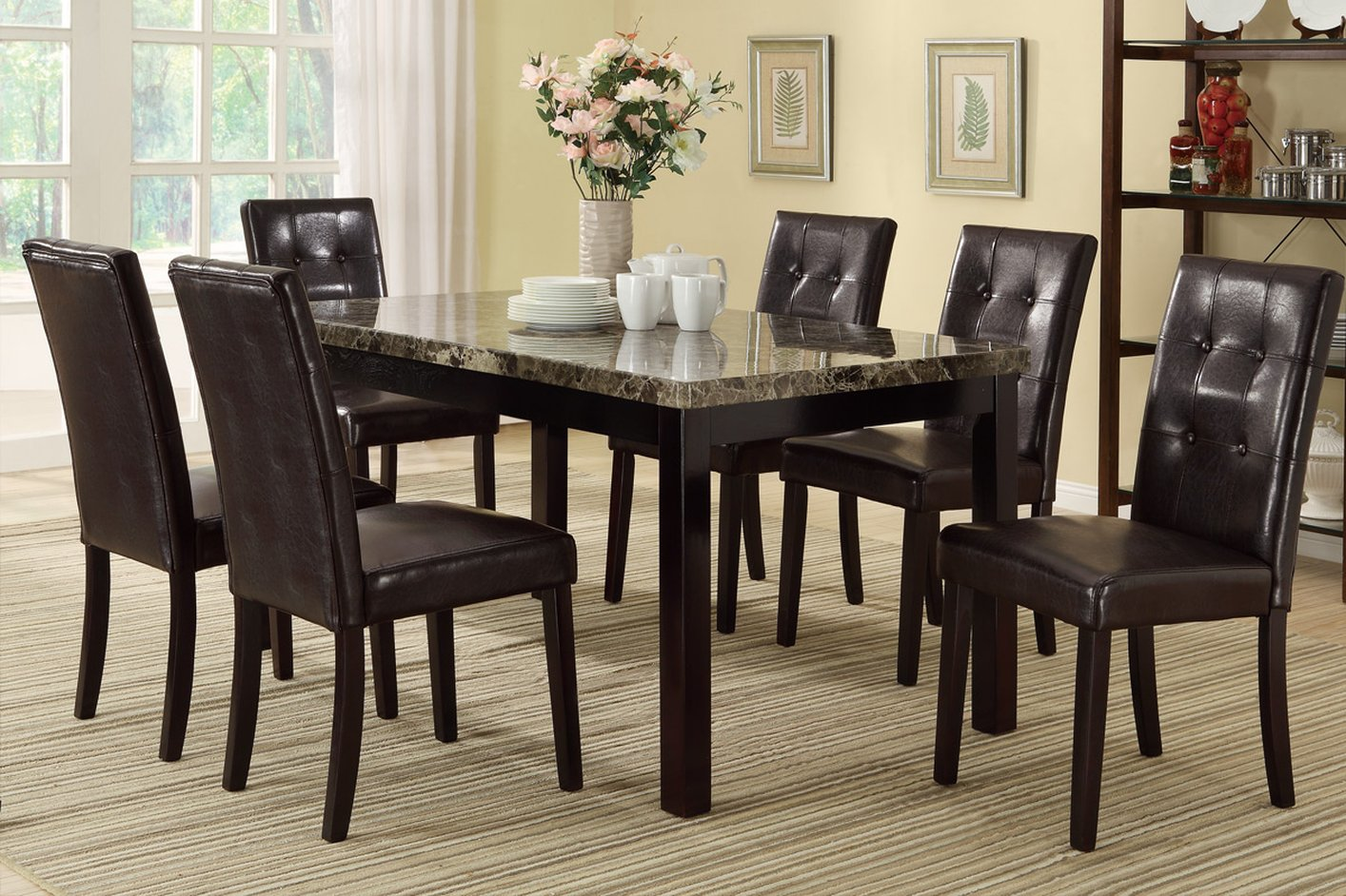 Brown leather dining chair steal a sofa furniture outlet for Brown leather dining room chairs