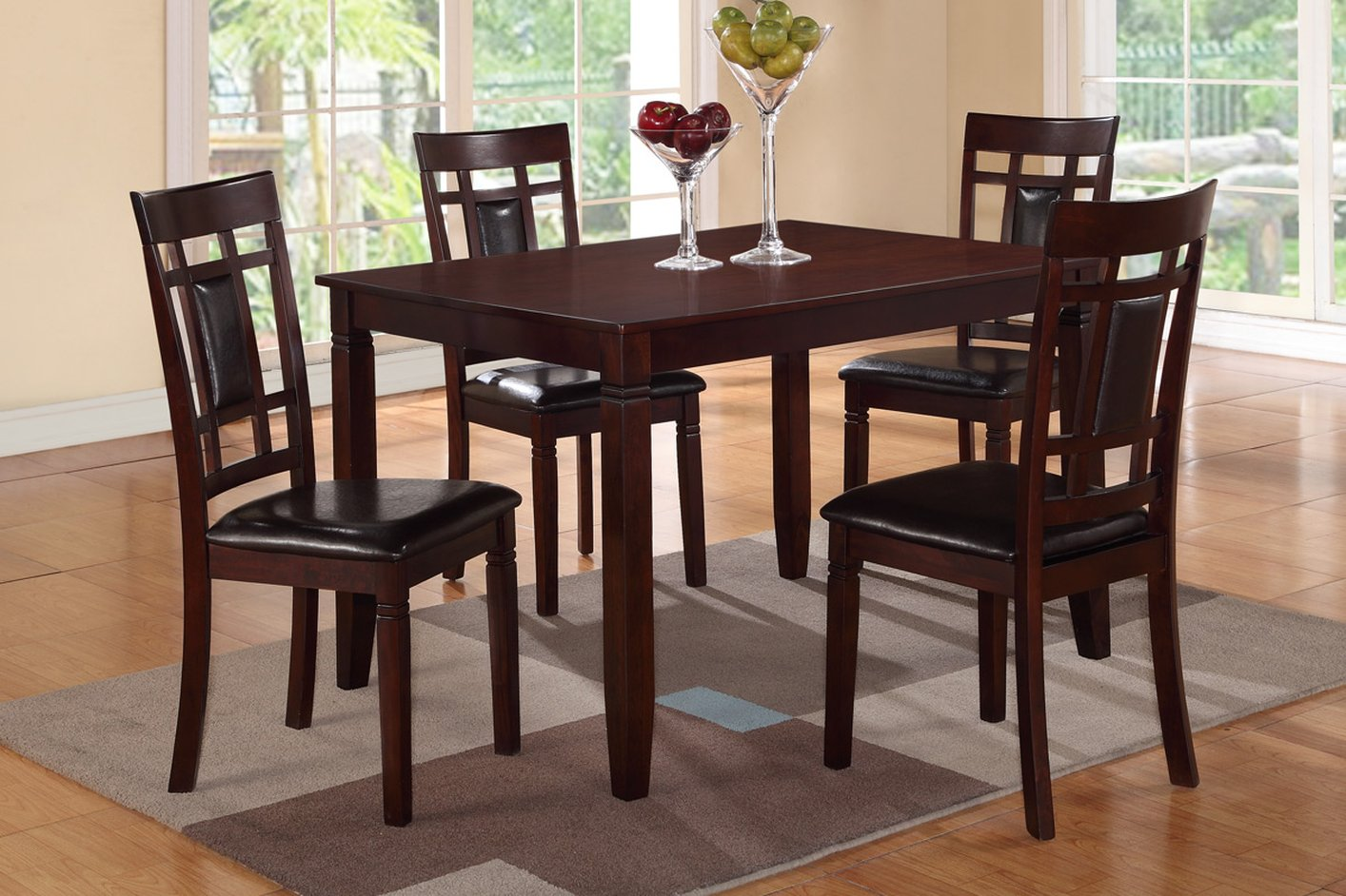 poundex f2232 brown leather dining table and chair set