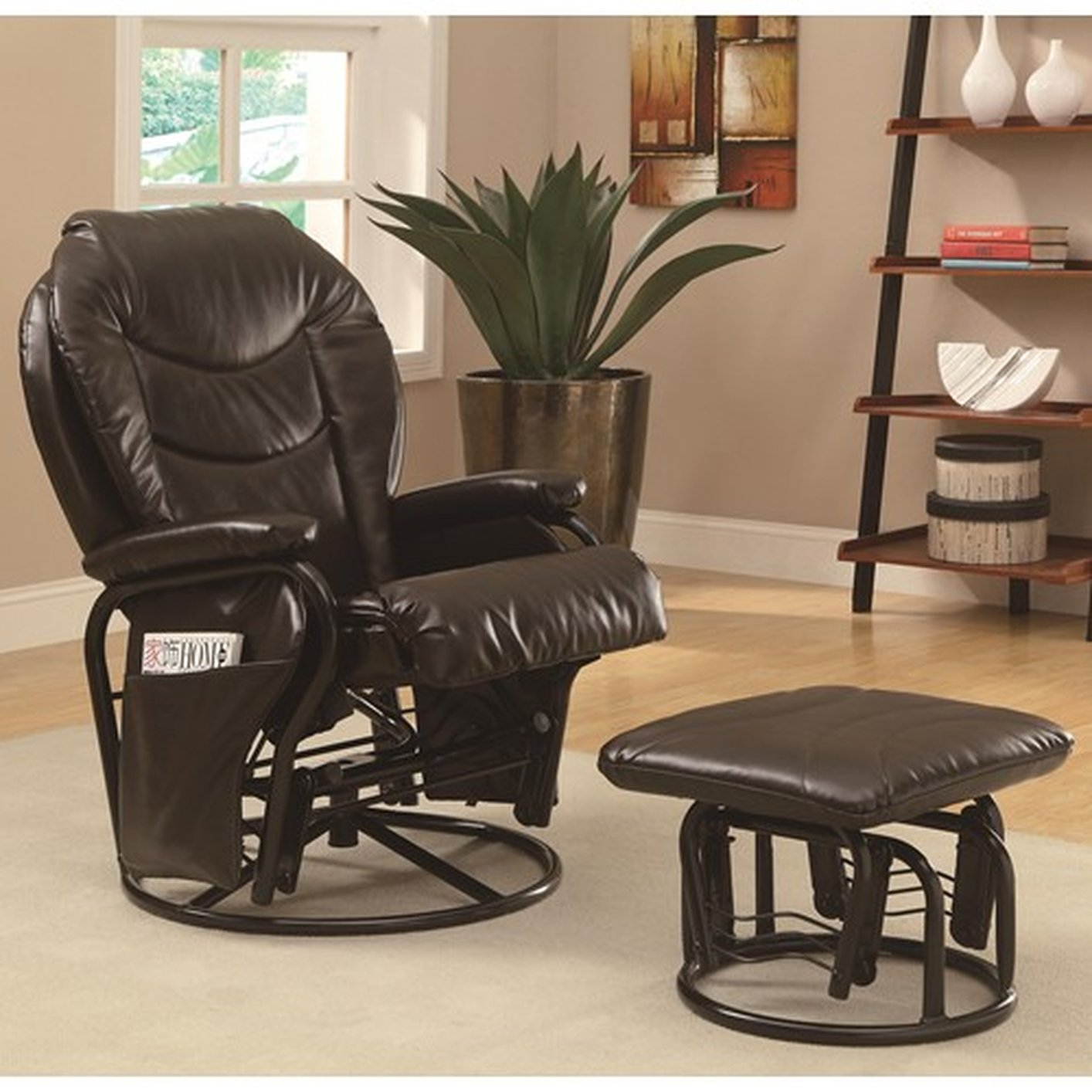 brown leather glider recliner steal a sofa furniture outlet los