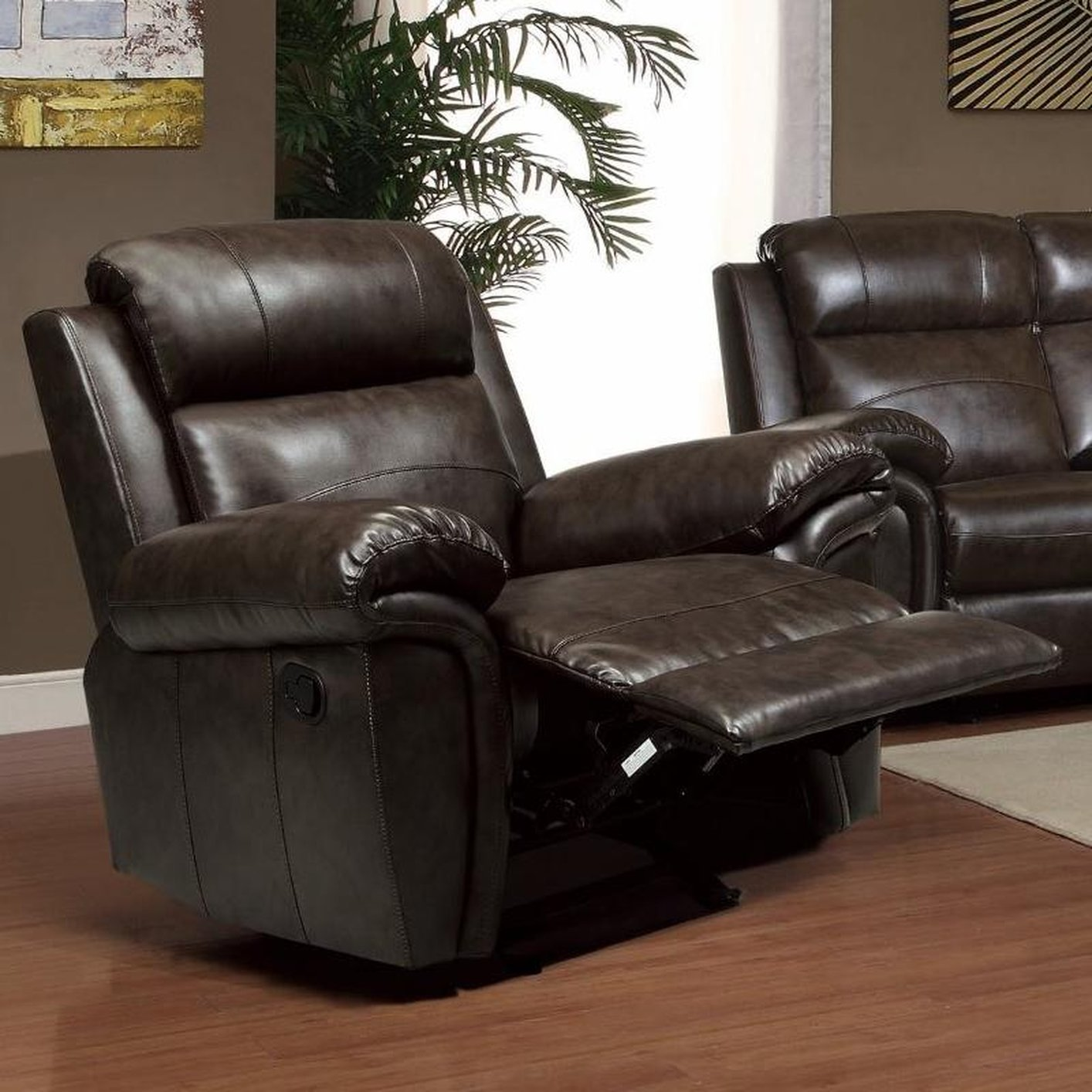leather glider chair brown leather glider recliner a sofa furniture 16636 | brown leather glider recliner 3