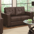 Enright Brown Leather Loveseat