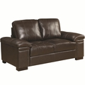 Winfred Brown Leather Loveseat