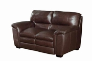 Burton Brown Leather Loveseat