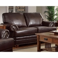 Colton Brown Leather Loveseat
