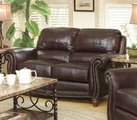 Lockhart Brown Leather Loveseat