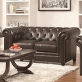 Roy Brown Leather Loveseat