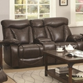 Brown Leather Power Reclining Loveseat