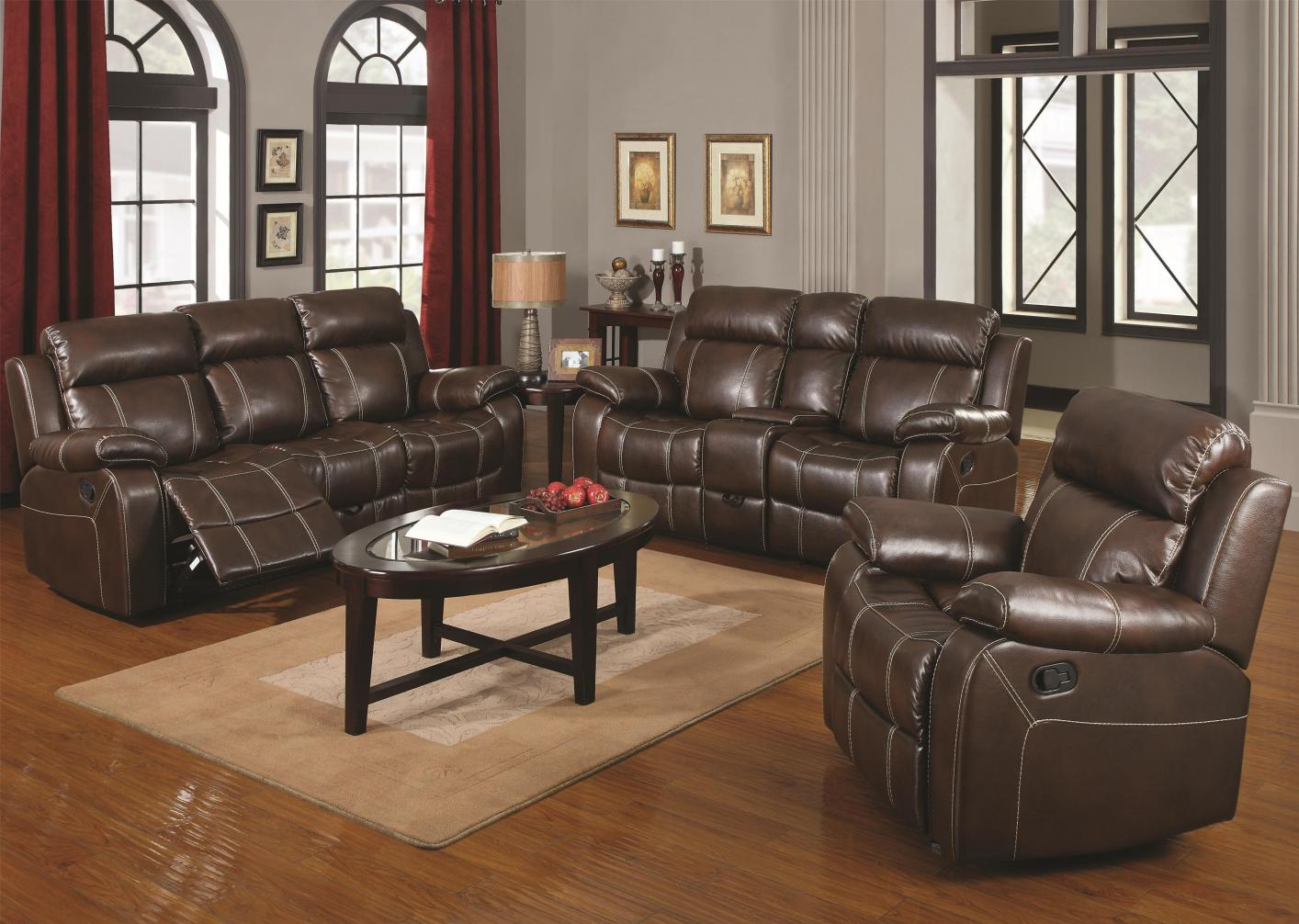 Brown Leather Reclining Loveseat Brown Leather Reclining Loveseat ... & Brown Leather Reclining Loveseat - Steal-A-Sofa Furniture Outlet ... islam-shia.org