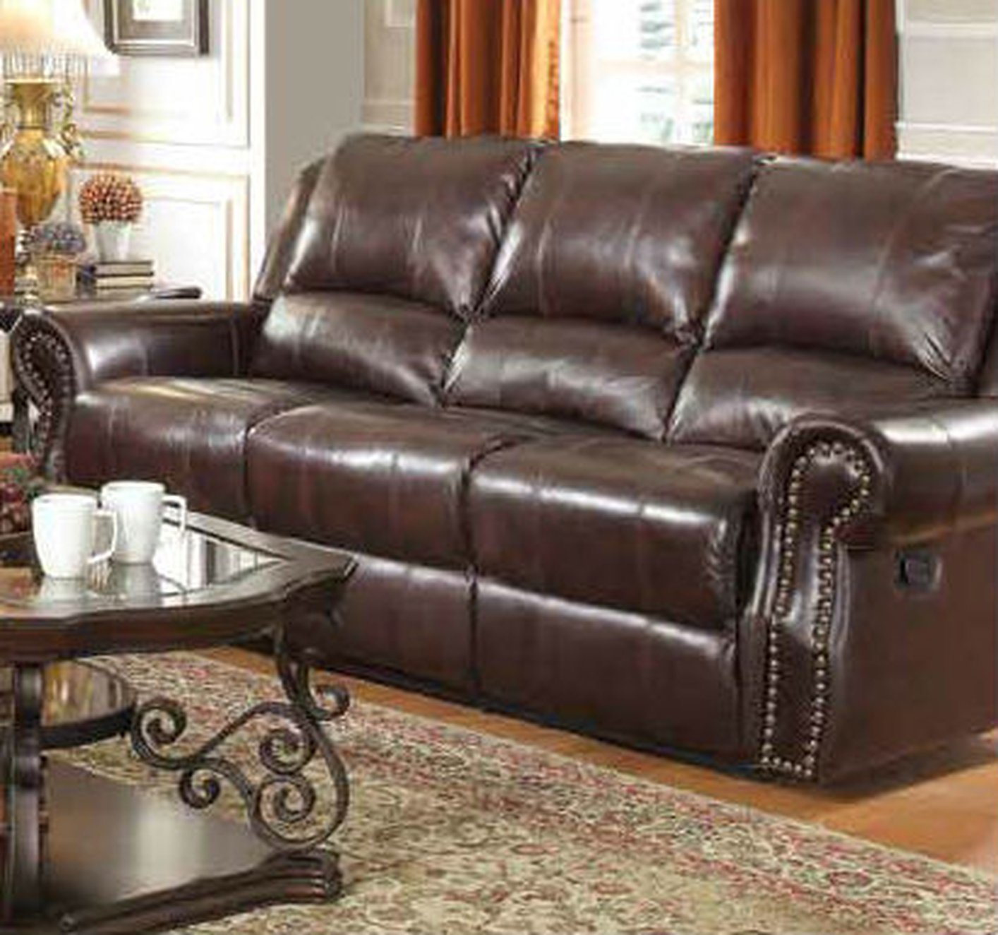 Coaster 650161 brown leather reclining sofa steal a sofa for Leather reclining sofa
