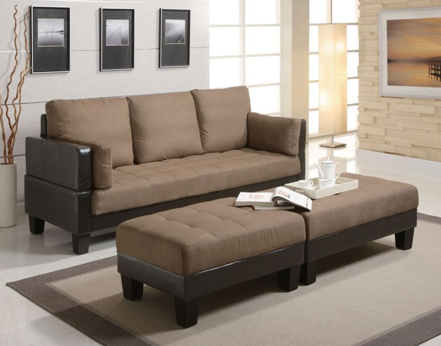 Coaster  Brown Leather Sectional Sofa and Ottoman - Steal-A