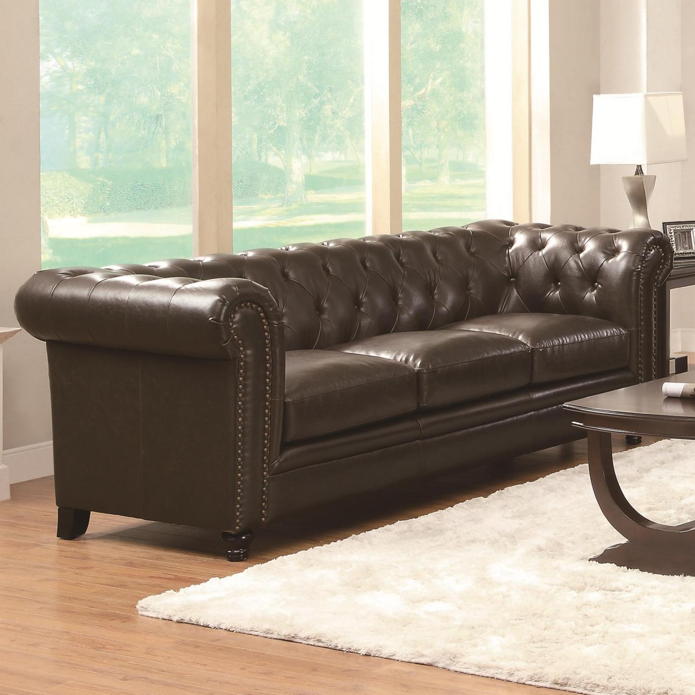 Roy Brown Leather Sofa