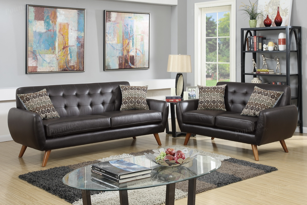 Poundex Cosmo F6911 Brown Leather Sofa And Loveseat Set Steal A Sofa Furniture Outlet Los