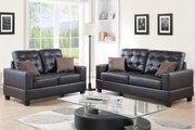 Anse Brown Leather Sofa and Loveseat Set