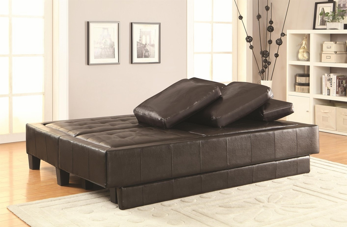 Coaster 300204 brown leather sofa bed and ottoman set for Sofa bed ottoman