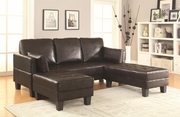 Brown Leather Sofa Bed and Ottoman Set