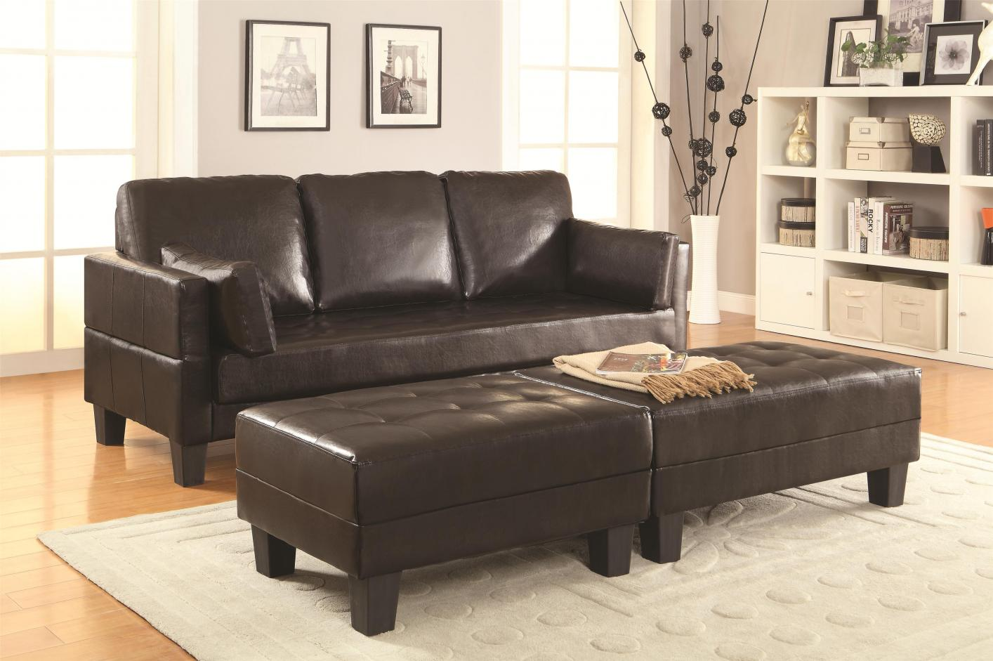 ... Brown Leather Sofa Bed and Ottoman Set ...